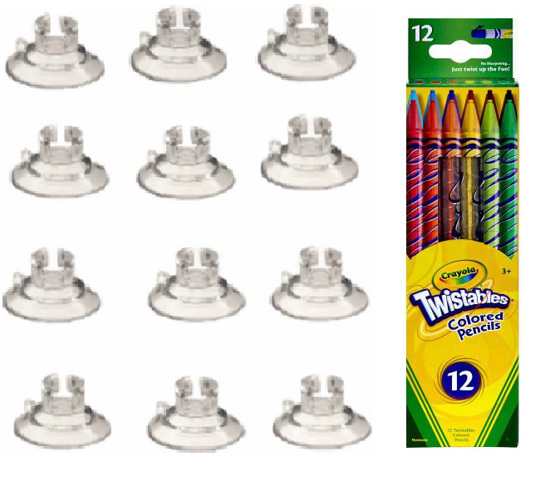 Picture of 12 Twistable Colored Pencils & 12 Suction Cup Pencil Holders)